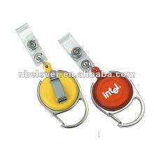 Plástico carabiner badge bobina com clip