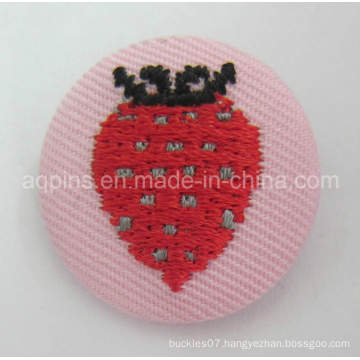 High Quality Embroidery Tin Button Badge with Fabric (button badge-60)