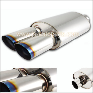 "UNIVERSAL 3"" DUAL BURNT TIP 2.5"" INLET STAINLESS STEEL EXHAUST RESONATOR MUFFLER"