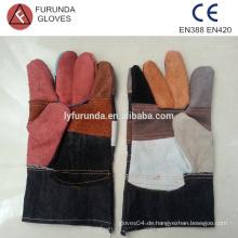 10,5 Zoll gemischte Farbe billig Leder Arbeitshandschuhe