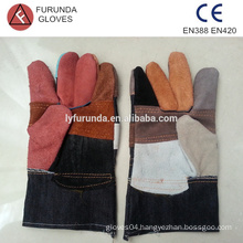10.5 inches mixed color cheap leather work gloves