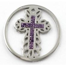 Silber Kreuz Münze Platte mit lila Kristall