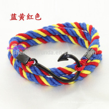 Wholesale Fashion Stainless Steel Fish Hook Bracelet Anchor Nautical Cotton Rope Bracelet Men Jewelry
