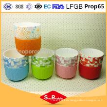 225ml Cilíndrico Decal Impresión China Taza de cerámica con la manga de silicona