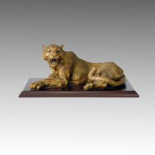 Animal Bronze Sculpture Leopard Carving Brass Statue Tpal-010