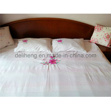 100% Microfiber Polyester 3PCS Bleached White Embroidered Bed Sheets