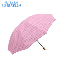 Bulk Buy From China Fashion Steel Shaft 3 Foldable Square Grid Cheap Custom Print Umbrella UV Protection with Plastic Handle