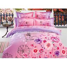 Ropa de cama de alta calidad Set Reactive Impreso Pink Flower Bed Linen Sets Nantong