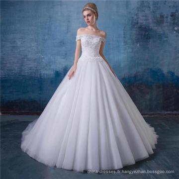 Off épaule une ligne robe de mariée en dentelle robe de mariée dernière conception HA581
