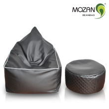 Черный натуральная кожа роскошная гостиная бин мешок стул