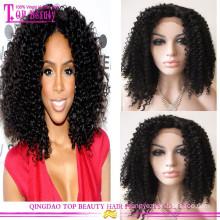 Preço de fábrica curto cabelo humano Kinky Curly Lace Front Wigs