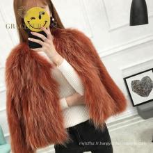 Manteau de fourrure de raton laveur personnalisé en vente