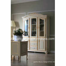 French Classical Style Glass Door Wood Display Cabinet (2106)