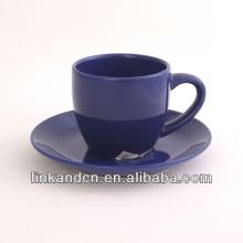 KC-03006 tasse à thé bleue avec soucoupe, tasse à café haute qualité