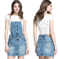 2016 Fashion Women Mini Short Denim Braces Skirt