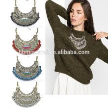2017 Boho Typ Halskette, Europa und die US Vintage Tessal Coin Drop Halskette Layered Chunky Gold Silber Halskette Frauen Schmuck