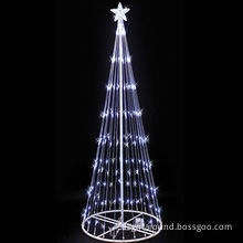 6-inch White LED Light Show Tree with 24V Transformer, Metal Frame with Star Topper