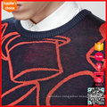 Mens heavy classic long sleeves jacquard washable chunky wool sweater