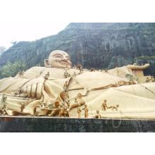 Decoración de fengshui al aire libre artesanías de metal bronce feliz estatuas de Buda para la venta