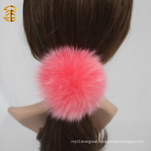 Colorful Custom Genuine Fox Fur Ball Elastic Hair Band
