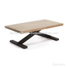 Industrielle Akazien Holz und Schwarz Finish Metall Kreuz Beine Konsolentisch