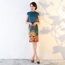 fashion Women ladies elegant hand painting flower print short sleeves sexy short silk chi-pao qipao cheongsam