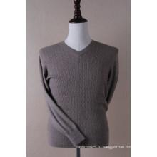 Мужская V шеи пуловер кабель