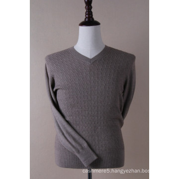 Men′s V Neck Cable Pullover