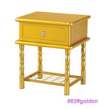 Mesa de noche de madera moderna de la cama de madera y del metal (002 # de oro)