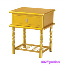 Modern Golden Wood and Metal Bedside Table Nightstand (002#golden)