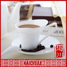 HCC top grade ceramic tea/coffee set cup and saucer, ceramic cup with wood saucer