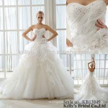 100% echte Fotos ärmelloses umweltfreundliches wulstiges Hochzeitskleid 2016