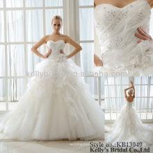 100% de fotos reais sem mangas de vestido de noiva com pérolas ecológicas 2016