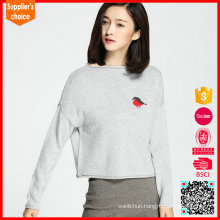 New design Long sleeve 100 pure wool 3/4 fashion sweater women