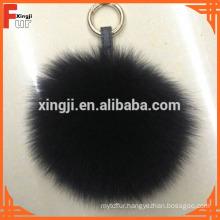Dyed Single Color Fox Fur Pom Pom Keychain