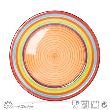 Placa de Cerâmica de 27cm Pintada à Mão em Design Spinwash