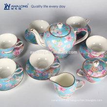 Flor azul 15pcs que pinta el café clásico y el sistema de té, sistemas finos del café de cerámica hechos en China