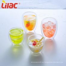 Tazas de doble pared de vidrio transparente de café / té lila 250ml / 350ml