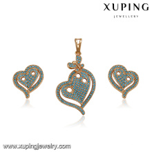 64196 xuping new design fashion colorful turkish style heart-shaped zircon stone gold plated jewelry sets