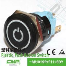 CMP 19mm black illuminated switch plastic power push button