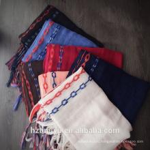 Мода новый дизайн продажа цепи dubaiwhosale вышивать равнина вискоза хиджаб кисточкой