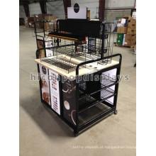Black Metal Floor Standing Retail Shop Coffe Bar Merchandising Equipamento Custom Movable Display Rack