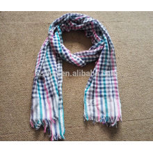 Fashion women 100 cotton tartan frayed plaid scarf