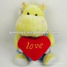 brinquedo de hipopótamo amarelo de pelúcia recheado bonito