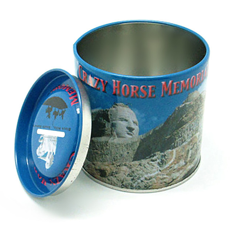 Round Save Money Coin Metal Tin Box