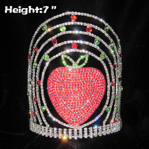 7in Height Tall Strawberry Rhinestone Pageant Crowns