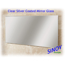 Waterproof Clear Silver Mirror Glass for Wall Cladding, Home Decorations, Bathroom Use