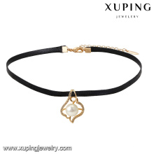 44033 Gros belles dames bijoux imitation perle pendentif en cuir collier ras de cou