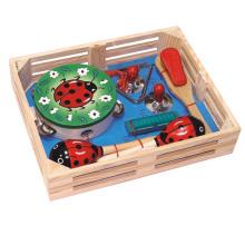 Juguete de madera instrumento musical conjunto en una caja