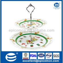 2 Schichten Porzellan Kuchen Stand von Doppel-Deck Platte